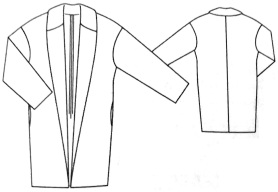 Dessin technique Veste col châle, Burda Style N°241, Janvier 2020