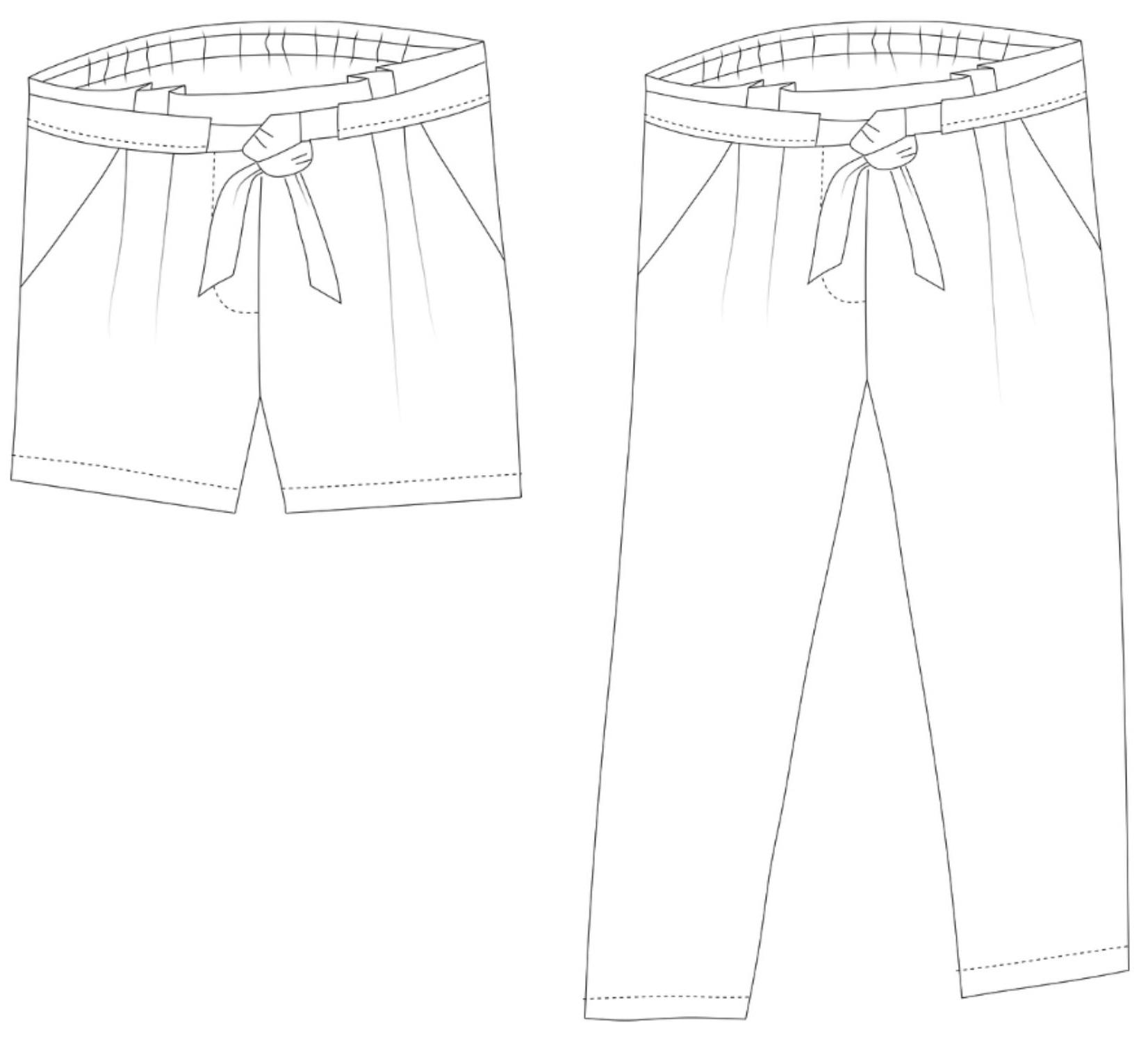 Pantalon Aura, Rose des Vents, Dessin technique