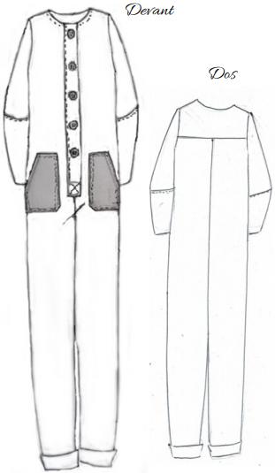 Combinaison les garçonnes, Popeline et Linon, Dessin technique
